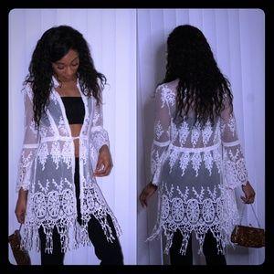 Jackets & Blazers - SOLD! ! : Ivory Crochet Shrug NWT
